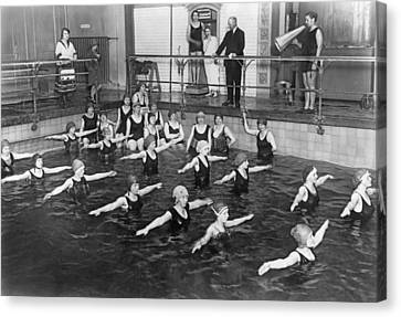 Lessons Canvas Print - Swimming Lessons In Berlin by Underwood Archives