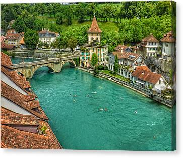 Canvas Print featuring the photograph Swimming The River Aare , Bern  by Connie Handscomb