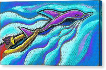 Swimming Together Canvas Print by Leon Zernitsky