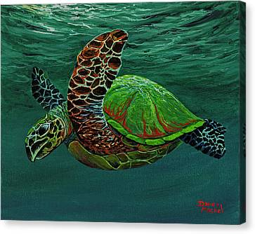 Canvas Print featuring the painting Swimming With Aloha by Darice Machel McGuire