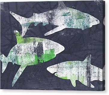 Swimming With Sharks- Art By Linda Woods Canvas Print