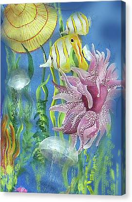 Swimming With The Jellies Canvas Print by Janis Grau