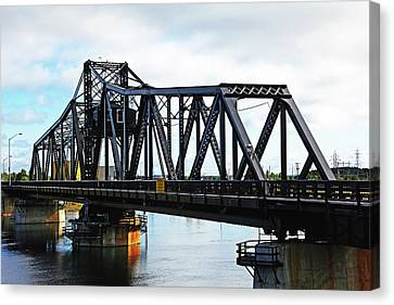 Swing Bridge Canvas Print by Debbie Oppermann