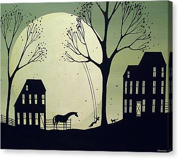 Swinging With My Friends Canvas Print by Debbie Criswell