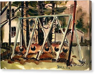 Canvas Print featuring the painting Swings Under The Pines Before The Storm Plein Air by Charlie Spear