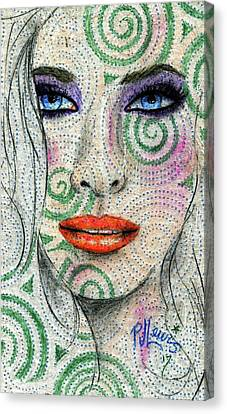 Canvas Print featuring the drawing Swirl Girl by P J Lewis