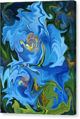 Swirled Blue Poppies Canvas Print