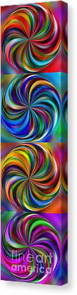 Curve Ball Canvas Print - Swirling Colors Vertical Collage By Kaye Menner by Kaye Menner