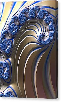 Canvas Print featuring the digital art Swirly Blue Fractal Art by Bonnie Bruno