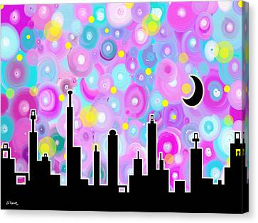 Canvas Print featuring the painting Swirly Metropolis by Shawna Rowe