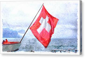 Swiss Flag On A Ship Canvas Print by Ashish Agarwal
