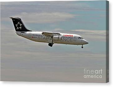 Swiss Global Air Lines British Aerospace Avro Rj100 Canvas Print by Amos Dor