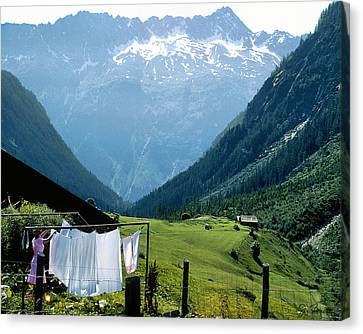 Swiss Laundry Canvas Print by Joe Bonita
