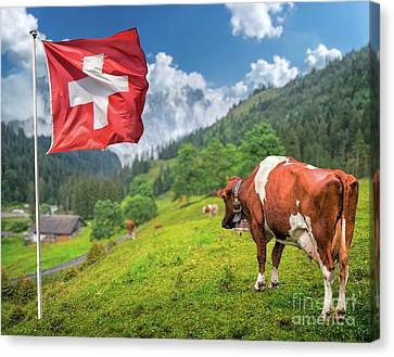 Swiss Mountain Scenery Canvas Print by JR Photography
