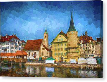 Swiss Town Canvas Print by Pravine Chester