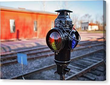 Train Tracks Canvas Print - Switch Lamp by Todd Klassy