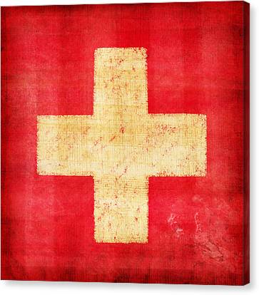 Weathered Canvas Print - Switzerland Flag by Setsiri Silapasuwanchai