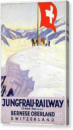 Switzerland Jungfrau Railway Vintage Poster Canvas Print by Carsten Reisinger