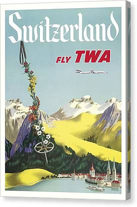 Switzerland Lake Lucerne Swiss Alps Vintage Airline Travel Poster Canvas Print by Retro Graphics