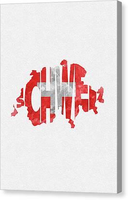 Suisse Canvas Print - Switzerland Typographic Map Flag by Inspirowl Design