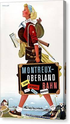 Switzerland Vintage Travel Poster Canvas Print by Carsten Reisinger