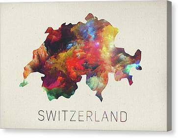 Suisse Canvas Print - Switzerland Watercolor Map by Design Turnpike
