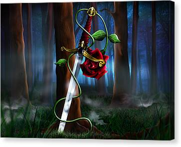 Mist Canvas Print - Sword And Rose by Alessandro Della Pietra