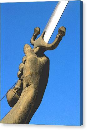 Sword Monument Detail Canvas Print by Gary Hughes