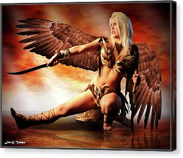 Swords Of The Hawk Woman Canvas Print