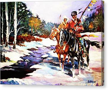 Snowbound Hunters Canvas Print