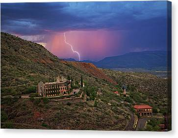 Canvas Print featuring the photograph Sycamore Canyon Lightning With Little Daisy by Ron Chilston