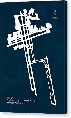 Syd Sydney Kingsford Smith Airport In Mascot Australia Runway Si Canvas Print by Jurq Studio