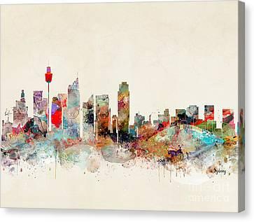 Canvas Print featuring the painting Sydney Australia by Bri B