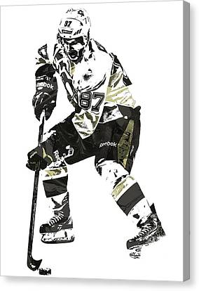 Sydney Crosby Pittsburgh Penguins Pixel Art3 Canvas Print by Joe Hamilton
