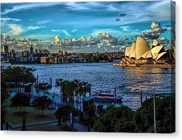 Sydney Harbor And Opera House Canvas Print by Diana Mary Sharpton