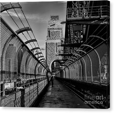 Sydney Harbor Bridge Bw Canvas Print by Diana Mary Sharpton