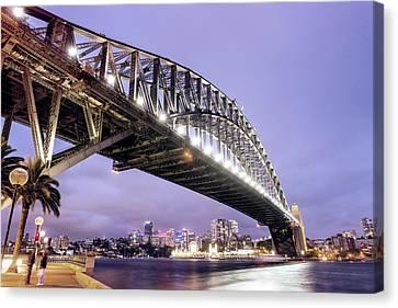 Sydney Harbour Bridge At Night Canvas Print by Giovanni Gagliardi