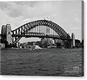 Sydney Harbour Bridge In Black And White Canvas Print by Chris Smith