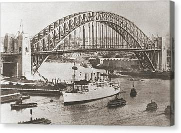 Sydney Harbour Bridge, Sydney Canvas Print by Vintage Design Pics