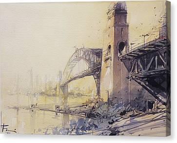 Sydney Haze Canvas Print by Tony Belobrajdic