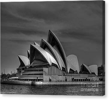 Sydney Opera House Print Image In Black And White Canvas Print