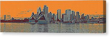 Modern Canvas Print - Sydney Opera House Travel Poster 2 by Celestial Images