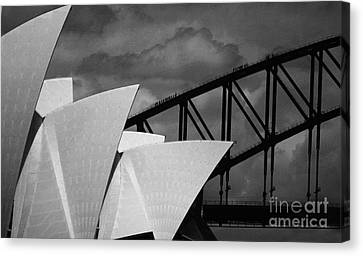 Sydney Opera House With Harbour Bridge Canvas Print by Avalon Fine Art Photography