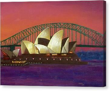 Sydney Sunset Canvas Print by Caroline Jones