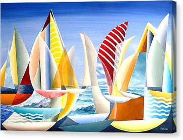Canvas Print featuring the painting Sydney To Hobart Race by Douglas Pike