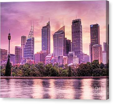 Sydney Tower Skyline At Sunset Canvas Print by Chris Smith