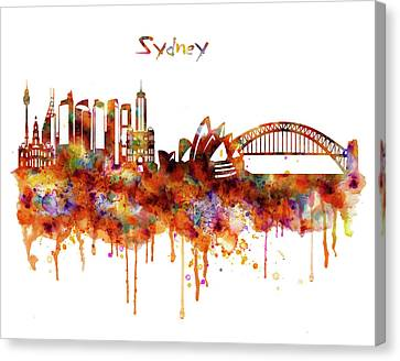 Modern Digital Art Canvas Print - Sydney Watercolor Skyline by Marian Voicu