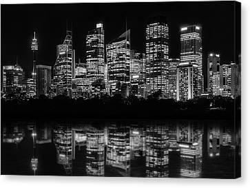 Sydney Waterfront At Night Canvas Print