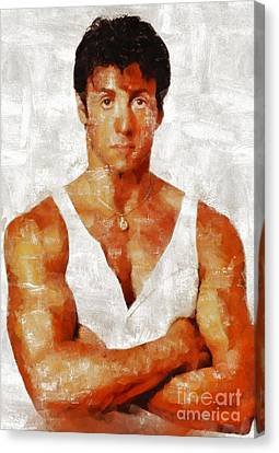 Sylvester Stallone Canvas Print - Sylvester Stallone, Hollywood Legend By Mary Bassett by Mary Bassett