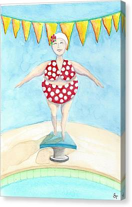 Sylvia At The Pool Canvas Print